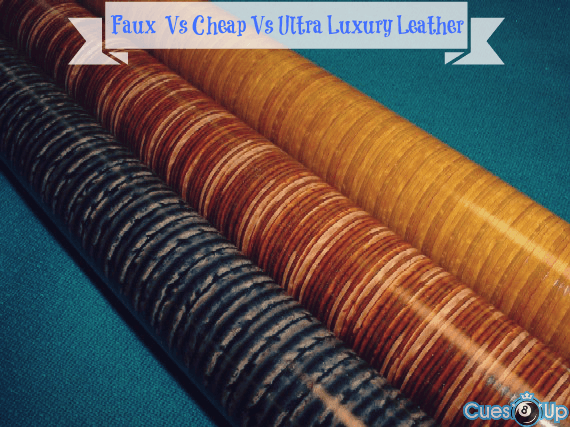 stacked leather pool cue wrap