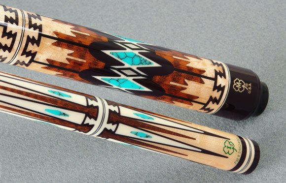 tribal pool cue inlay design
